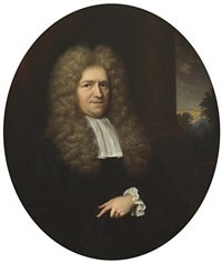 a portrait of a gentleman, half-length, before a pillar with a landscape beyond and a portrait of a lady, half-length, in white with a blue robe (pair) by arnold boonen