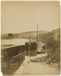 sèvres, ses environs, bords de la seine.. vue prise de la rive gauche, d'aval en amont, au pied de la terrasse de bellevue by henri-victor regnault