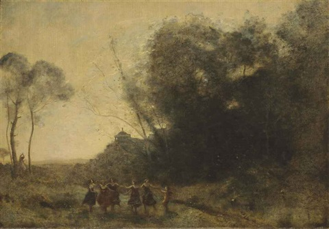 ronde de nymphes by jean baptiste camille corot