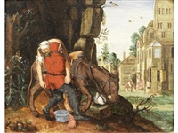 the good samaritan putting the traveller on his donkey (+ and the good samaritan paying the innkeeper for the care of the wounded man; pair) by flemish school (17)