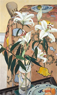 lilies with indian cloth by cressida campbell