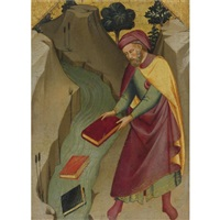 the magus hermogenes casting his magic books into the water by lorenzo (piero di giovanni) monaco