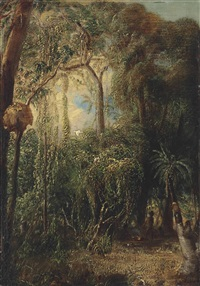 an australian rainforest with an aboriginal camp, sulphur-crested cockatoos, parakeets and other birds in the canopy by john thomas baines