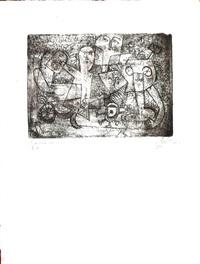 gravure originale aux personnages oniriques by eugène fidler