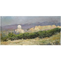 view of the church of saint nikolas, athens by vikentios bokatsiabi