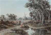 a pair of swagmen by a camp fire by australian school (19)