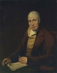 portrait of gentleman, seated half length at a table, wearing a brown coat, mustard waistcoat and stock, holding his spectacles, with a magazine by benjamin duterrau