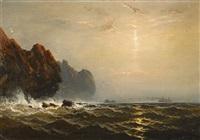 steamer off a rocky coast by james hamilton