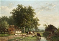 cattle, sheep and drover on a country lane (collab. w/eugène joseph verboeckhoven) by alexander joseph daiwaille
