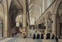 the interior of a gothic church with figures walking through the isle, probably a christening procession, other figures praying in the background by abel grimmer