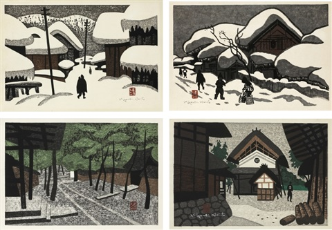 winter in aizu winter in aizu garden landscape with warehouse set of 4 by kiyoshi saito
