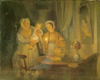 family group in an interior by candlelight by jan hendrik van grootvelt