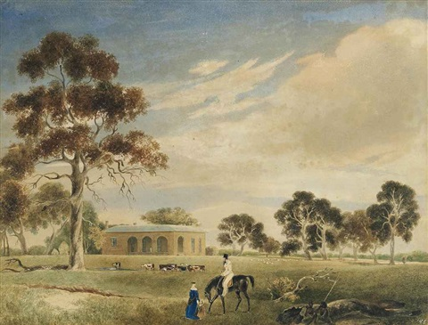cummins house adelaide with john morphett and family and a group of seated aborigines in the foreground by john michael skipper