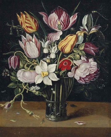 parrot tulips roses daffodils and other flowers in a glass roemer on a ledge by osias beert the elder