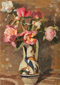 pot with peonies by nicolae enea