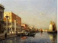 the doge's palace and the columns of st. theodore and the lion of venice by noel georges bouvard