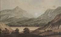 view of cradle mountain and cradle lake by john glover