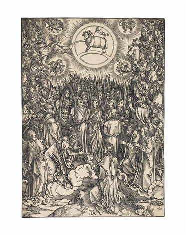 the adoration of the lamb from the apocalypse by albrecht dürer