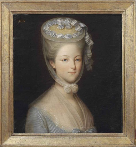 portrait of princess marie thérèse louise de savoie carignan princess de lamballe in a white gown with a gauze wrap by pierre claude françois delorme