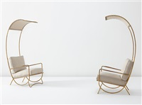 canopy lounge chairs (pair) by jean royère