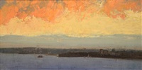 sunset, sydney harbour by albert henry fullwood