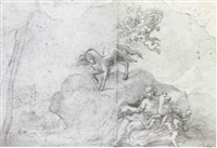 a design for a wall decoration with romulus and remus, and putti carrying the medici arms by giacomo gabbiani