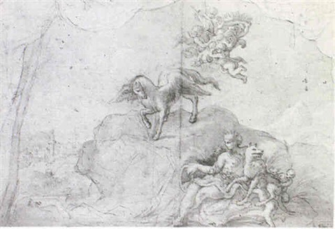 a design for a wall decoration with romulus and remus and putti carrying the medici arms by giacomo gabbiani