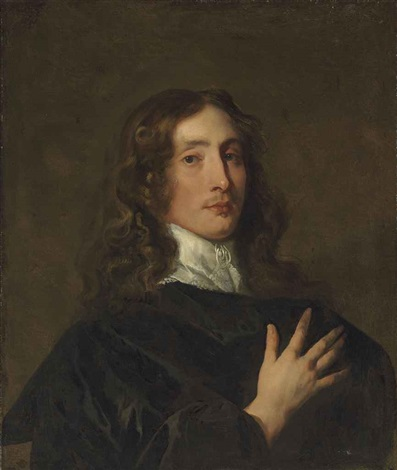 portrait of a gentleman in black bust length by sir peter lely