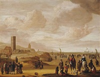an elegant couple on horseback with fisherfolk on the beach at egmond-aan-zee by cornelis beelt