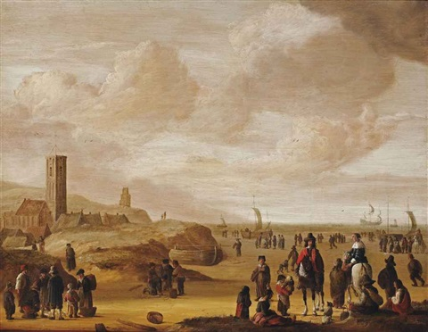 an elegant couple on horseback with fisherfolk on the beach at egmond aan zee by cornelis beelt