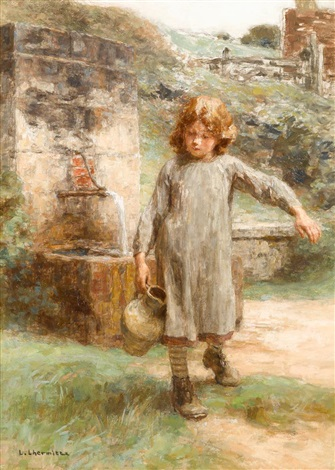 little girl at the fountain by léon augustin lhermitte
