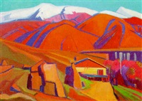orange house by the mountains by artashes abraamyan