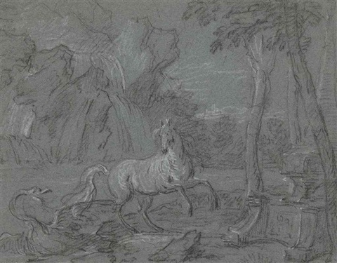 a horse surprised by a swan in a landscape a scene from ovids metamorphoses by jean baptiste oudry