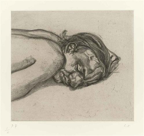 man resting by lucian freud