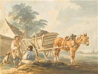 figures resting by a horse and cart by peter la cave