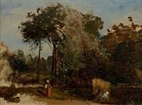 lavandières à l'étang (environs de sèvres) by paul huet