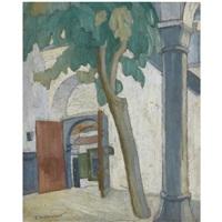 a monastic courtyard, mount athos by spyros papaloukas