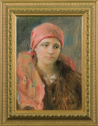 girl in red scarf by teodor axentowicz