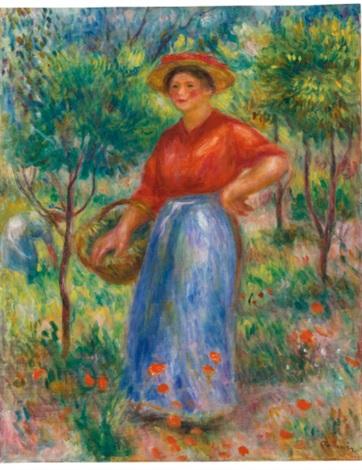 jeune fille au panier gabrielle au jardin by pierre auguste renoir