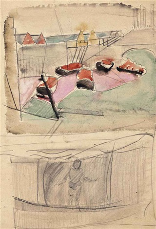 battersea power station (top), preliminary sketch for boy in a wave (bottom) by sir terry frost