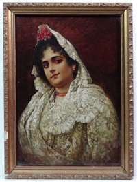 andalusian beauty wearing white lace and holding chrysanthemums by adolfo aguila y acosta