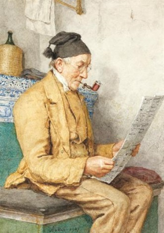 lesender bauer auf dem ofentritt reading farmer sitting by the tiled stove by albert anker