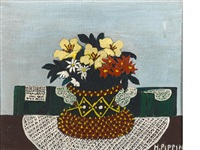 flowers with four doilies by horace pippin