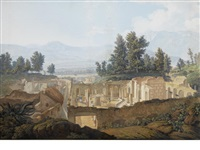 grand tourists visiting the temple of isis at pompeii (+ a view of the royal palace at portici with vesuvius beyond; pair) by saverio xavier della gatta