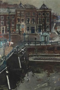 a view of the spaarne, haarlem by kees verwey