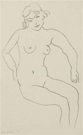 nu assis chevelure claire by henri matisse