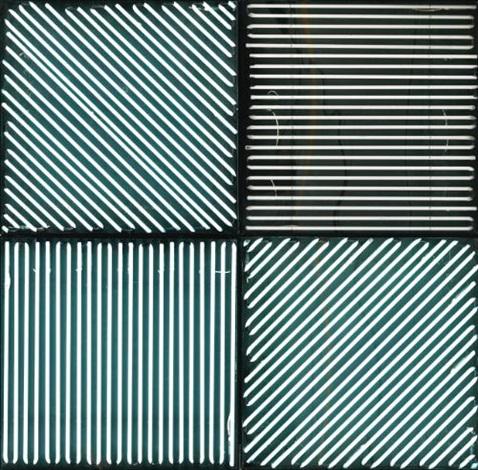 4 panneaux avec 4 rythmes déclairage interférents in 4 parts by françois morellet