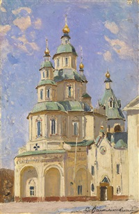 view of a church on a sunny day by sergei ivanovich vasil'kovsky