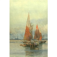 drying sails at the lido, venice by prosper louis senat