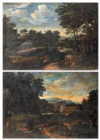 cavaliers dans un paysage, pâtre se reposant au bord d'un chemin longeant un château (pair) by abraham genoels